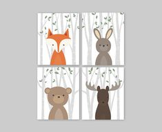 Nursery animals prints Woodland animal decor Baby by YassisPlace