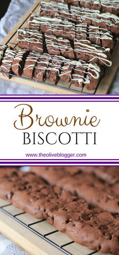 Brownie Biscotti- A chocolate biscotti recipe. This one is very easy to prepare and it makes a ton, Biscotti Rezept, Biscotti Cookies, Almond Cookies, Köstliche Desserts, Delicious Desserts, Dessert Recipes, Italian Desserts, Plated Desserts, Italian Recipes
