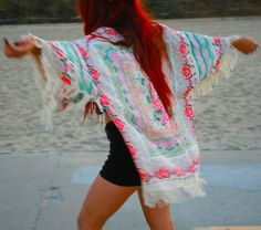 Bohemian, Boho, Chic, Floral, Fringe Kimono, Kimono, Womens Fashion, Women Fashion, Fashion, Music Festival, Fall Fashion, Hippie, Women on Etsy, $38.00