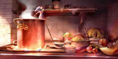 Pixar Animation Studios (Pixar) is an American computer animation film studio based in Emeryville, California. Pixar is a subsidiary of The Walt Disney Company. Disney Pixar, Animation Disney, Art Disney, Disney Artists, Ratatouille Disney, Ratatouille 2007, Pixar Concept Art, Disney Concept Art, Kitchen Wallpaper Hd