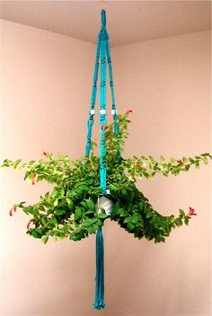 It is time to bring macramé back!  Maybe updated colors, beads, add raffia, etc.  But I need plant hangers dang it! turquoise macreme plant holder