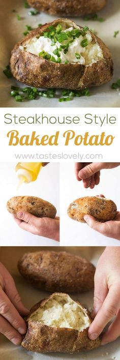 Steakhouse Style Baked Potato - the BEST baked potatoes I've ever had! (vegetarian, gluten free) Put a couple holes in the potato with a fork Coat with olive oil Sprinkle with salt minutes Best Baked Potato, Baked Potatoes, Baked Potato Recipes, Salted Baked Potato, Russet Potato Recipes, Perfect Baked Potato, Russet Potatoes, Potato Dishes, Side Dishes