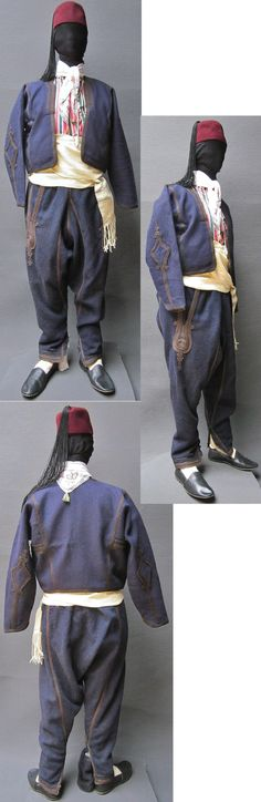 Late-Ottoman Istanbul street wear, as worn by middle-class men originating from Trakya/Thrace or from the Marmara region.  End of 19th century.  All garments of the costume are from that period. (Kavak Folklor Ekibi&Costume Collection-Antwerpen/Belgium).