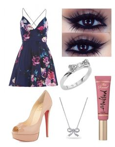 """Untitled #228"" by vanessaporkchop on Polyvore featuring AX Paris, Christian Louboutin, Too Faced Cosmetics, Kate Spade and Bling Jewelry"