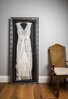 """The Beautiful Frame Company are made up of Sam and Charlotte, a mother and daughter duo with a bright idea of framing wedding dresses. When Charlotte's own wedding day had passed, she had no idea what to do with her bridal gown. """"I wanted to have my dre Wedding Dress Frame, Wedding Dress Display, Wedding Frames, Wedding Dress Shadow Box, Wedding Dress Storage, Post Wedding, Dream Wedding, Wedding Day, Christmas House Lights"""