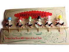 Vintage Snowman Party Topper Appetizer Picks