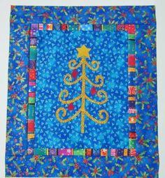 HOLIDAY CHRISTMAS TREE  Mini Quilt Top+ Binding  LAUREL BURCH FABRIC #LAURELBURCH