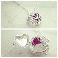 Necklace was made with a beautiful silver heart locket and a thin silver chain. Locket can be filled with prayers, a wish or birthstone
