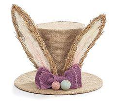 Burton Easter Bunny Burlap Look Decorative Top Hat Table Piece Centerpiece with Ears & Eggs