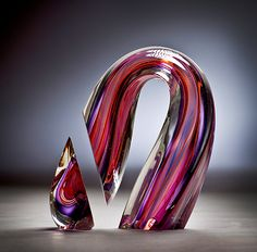 Harvey Littleton, Purple Red Sliced Descending Form #harveylittleton #glass #wexlergallery