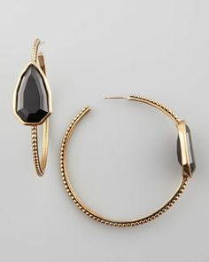 Cathedral Hoop Earrings, Black  by Stephen Dweck at Neiman Marcus.