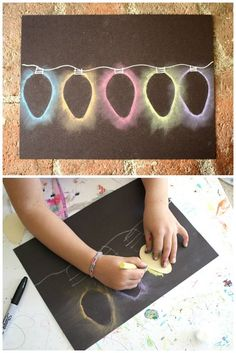 Bulbs Christmas light chalk stencil art - a quick holiday art project for kids - Here's a quick Christmas art project for kids: Christmas Light Chalk Stencil Art! The kids always love how these turn out and can't wait to make them again and again! Preschool Christmas, Christmas Activities, Christmas Projects, Handmade Christmas, Christmas Decorations Diy For Teens, Diy Christmas Gifts For Friends, Christmas Ideas, Christmas Crafts For Kids To Make, Pallet Christmas
