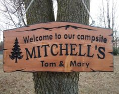 Last Name Campsite Sign Personalized Carved Wooden by TKWoodcrafts