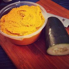 raw sweet potato hummus. i had the staples then substituted different spices. enjoy!
