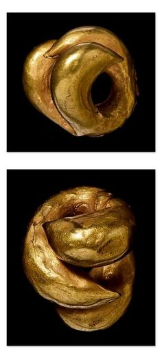 Earring. Material/Specific: Gold,Bitumen. Country: Iraq. Akkadian Empire - 3rd millennium BC.  Ancient Mesopotamia.