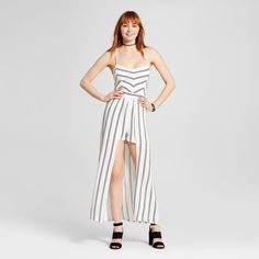• Rayon construction has an elevated fit and feel<br>• Dramatic strappy back is eye-catching<br>• High-low hemline takes this trend further<br><br>Pulling trending looks together, the  Women's Stripe Cross Back Maxi Romper by Love @ First Sight (Juniors') is a surprising delight. This strappy high-low jumpsuit wins raves for innovation.<br><br>Used to Women's sizes? Size up in Junior's or check the size...
