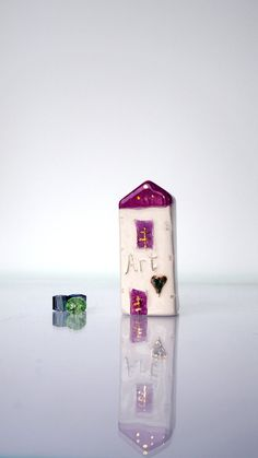 Art Handmade Pottery House - LOVE  -  Home Decor - Small Ceramic houses - Handmade miniature ceramics sculptures in purple