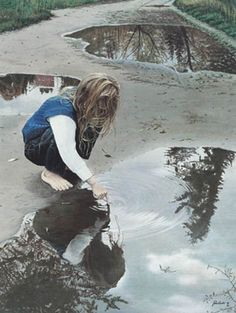 """""""AboveSoBelow"""" by artist, Johannus Boots. His commentary: This little girl seems fascinated by her own reflection, reaching down to touch herself as a seagull soars overhead. I feel that life is a reflection;  what we put out is reflected back. Acrylic on canvas.... Love this concept..."""
