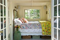 Cozy bed nook, perfect for napping. This SO reminds me of my grandma's old house - there was a tiny room even smaller than this with a bed in it just like this. Cozy Bedroom, Dream Bedroom, Bedroom Bed, Bedroom Ideas, Summer Bedroom, Design Bedroom, Bedroom Decor, Pretty Bedroom, Bedroom Inspiration