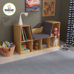 Kids Bookcase Reading Storage Soft Seat Cushion 5 Cubby Space Books Toys Natural #KidKraft