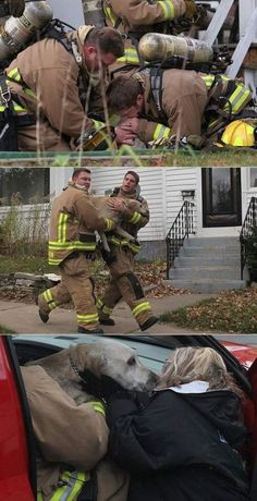 Amazing firefighters save dog with CPR -I love my fireman and my dogs.I would do the same hope there are a lot more like them that would do the same. It is so amazing to see the happiness in their eyes Dog Love, Puppy Love, Faith In Humanity Restored, Animal Rescue, Cute Dogs, Dog Cat, Cute Animals, Firemen, Firefighters Wife