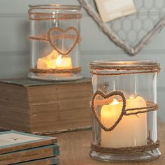 glass candle holder with rope heart by the contemporary home | notonthehighstreet.com