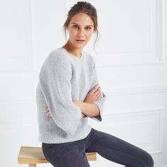 Made from a beautiful fuzzy blend of cotton and wool, which is enriched with alpaca and other fibres for a softly textured finish, this jumper will elevate denim or smart trousers with a contemporary touch. Featuring a round neck and all-over chunky ri Jumper Outfit, The White Company, Clothes For Sale, Trousers, Pullover, Wool, Denim, Sleeves, Sweaters
