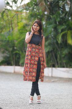Different types of kurtis designs - Simple Craft Ideas Kurta Designs Women, Kurti Neck Designs, Salwar Designs, Blouse Designs, Dress Designs, Kalamkari Kurti, Kalamkari Dresses, Chudidhar Designs, Kalamkari Designs