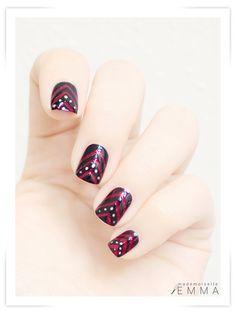Chevron stripes nail art design - black, raspberry red & gold