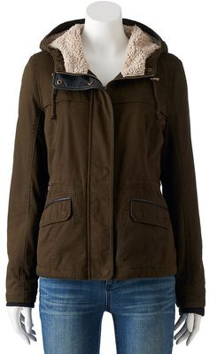 Juniors' Sebby Hooded Faux-Fur Parka Jacket Faux Fur Parka, Military Jacket, Hoods, Teen, Leather Jacket, Stylish, Girls, Jackets, Fashion