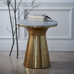 Marble-Topped Pedestal Coffee Table - White Marble/Antique Brass