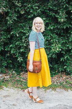madewell midi skirt, old navy striped tee, lotta from stockholm clogs, frye crossbody bag
