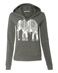 Womens Paisley ELEPHANT Hoodie Sweatshirt Hooded Alternative Apparel Gray, Blue, Pink, Black **COLOR swatches on photo 3 ***Items are custom