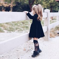 BLACK LACE Knee High Socks - The most beautiful children's fashion products Cute Baby Girl Outfits, Toddler Girl Outfits, Toddler Fashion, Kids Fashion, Stylish Toddler Girl, Stylish Baby, Toddler Cowgirl Outfit, Toddler Girl Style, Trendy Kids