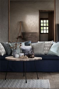 Patterned cotton rug - Natural white/Grey-blue - | H&M GB