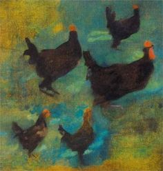 """Károly Ferenczy  """"Chickens""""  Reminds me of our banny hen Sooty"""