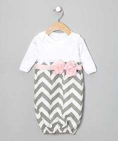 Take a look at this Gray Zigzag Bow Gown - Infant by Caught Ya Lookin' on #zulily today!