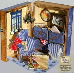 Inside of Golden Age of Travel altered art box and tutorial by Betsy Skagen of Paper Calliope