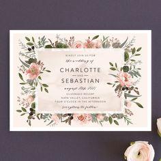 """Desert Blooms"" - Wedding Invitations in Blush by Susan Moyal."