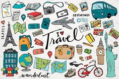 Travel clipart & look at clip art images - clipartlook Travel Clipart, Travel Doodles, Drawing Clipart, Art Clipart, Travel Icon, Clipart Design, Travel Illustration, Travel Scrapbook, Doodle Art