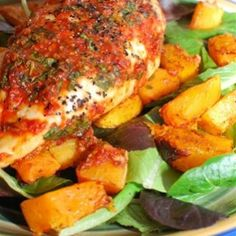 Basil and Red Pepper Topped Chicken with a Roasted Butternut Squash Salad