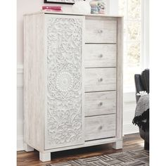 Ashley Furniture Paxberry Dressing Chest with Made of engineered wood,Distressed, white-washed smooth-gliding drawers with faux laminate lining,Slider door revealing open storage with 3 adjustable shelves Ashley Furniture Kids, Kids Furniture, Painted Furniture, Bedroom Furniture, Furniture Design, Bedroom Decor, Bedroom Retreat, White Washed Furniture, Furniture Price