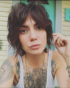 Our friend rocking her short shag razor cut by ❤️ Styled using eco/ clean beauty by… Short Shag Hairstyles, Bohemian Hairstyles, Razor Cut Hairstyles, Bohemian Short Hair, Bride Hairstyles, Hairstyle Ideas, Short Hair Cuts, Short Hair Styles, Pixie Cut Styles