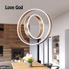 Modern LED living dining room Pendant Chandelier suspension double ring luminaire Smart Home led ring lighting lamp fixture