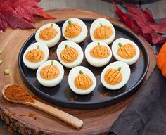 Chipotle Pumpkin Deviled Eggs: Your guests will love these miniature deviled eggs, made to look like tiny pumpkins, complete with stems! The chipotle chili powder gives them a spicy kick for even more irresistible flavor. Halloween Appetizers, Halloween Food For Party, Yummy Appetizers, Appetizers For Party, Appetizer Recipes, Halloween Potluck Ideas, Avocado Deviled Eggs, Best Deviled Eggs, Deviled Eggs Recipe