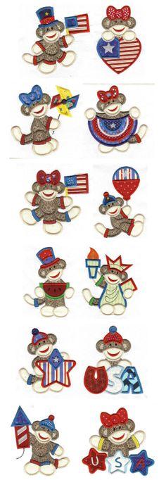 Embroidery   Applique Machine Embroidery Designs   Patriotic Sock Monkeys Applique