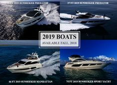 2019 Boats Available Fall 2018 Rick Obey and Associates, America's largest Sunseeker dealer is proud to present 4 brand new Sunseeker boats that will be available this fall: Sunseeker Yachts, Sport Yacht, Fall 2018, Predator, Boats, America, Ships, Boat, Usa