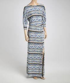 Another great find on #zulily! Blue & Tan Fair Isle Side-Slit Maxi Dress - Women #zulilyfinds