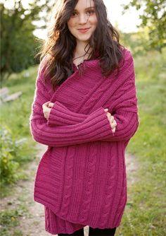 Weite Zopf-Jacke in Pink, stricken mit Rebecca - mein Strickmagazin und ggh-Garn CAMELLO (85% Schurwolle/ 15% Kamelhaar).  Garnpaket zu Modell 28 aus Rebecca Nr. 48