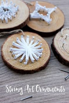 String Art Ornaments - Made by Kids! Inspired by the kids book The Christmas Wish